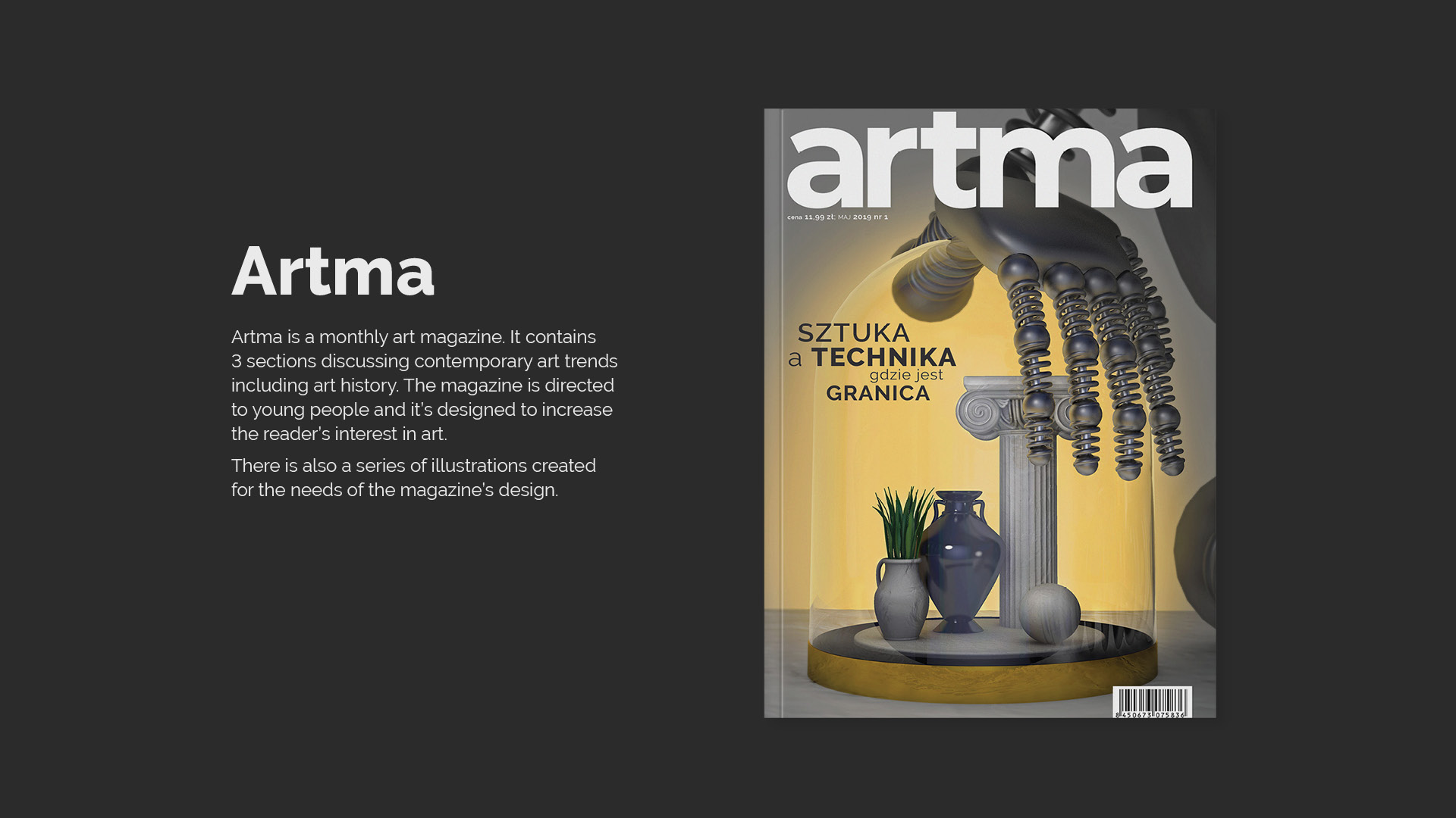Artma. Magazine about art. Cover with a 3D illustration