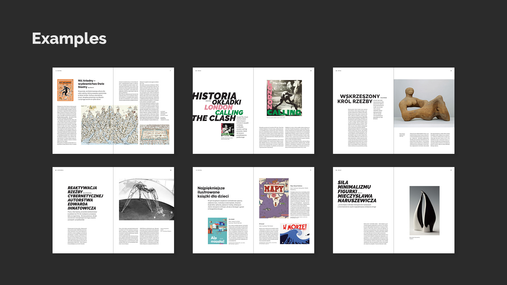 Artma. Magazine about art. Pages layout. Example