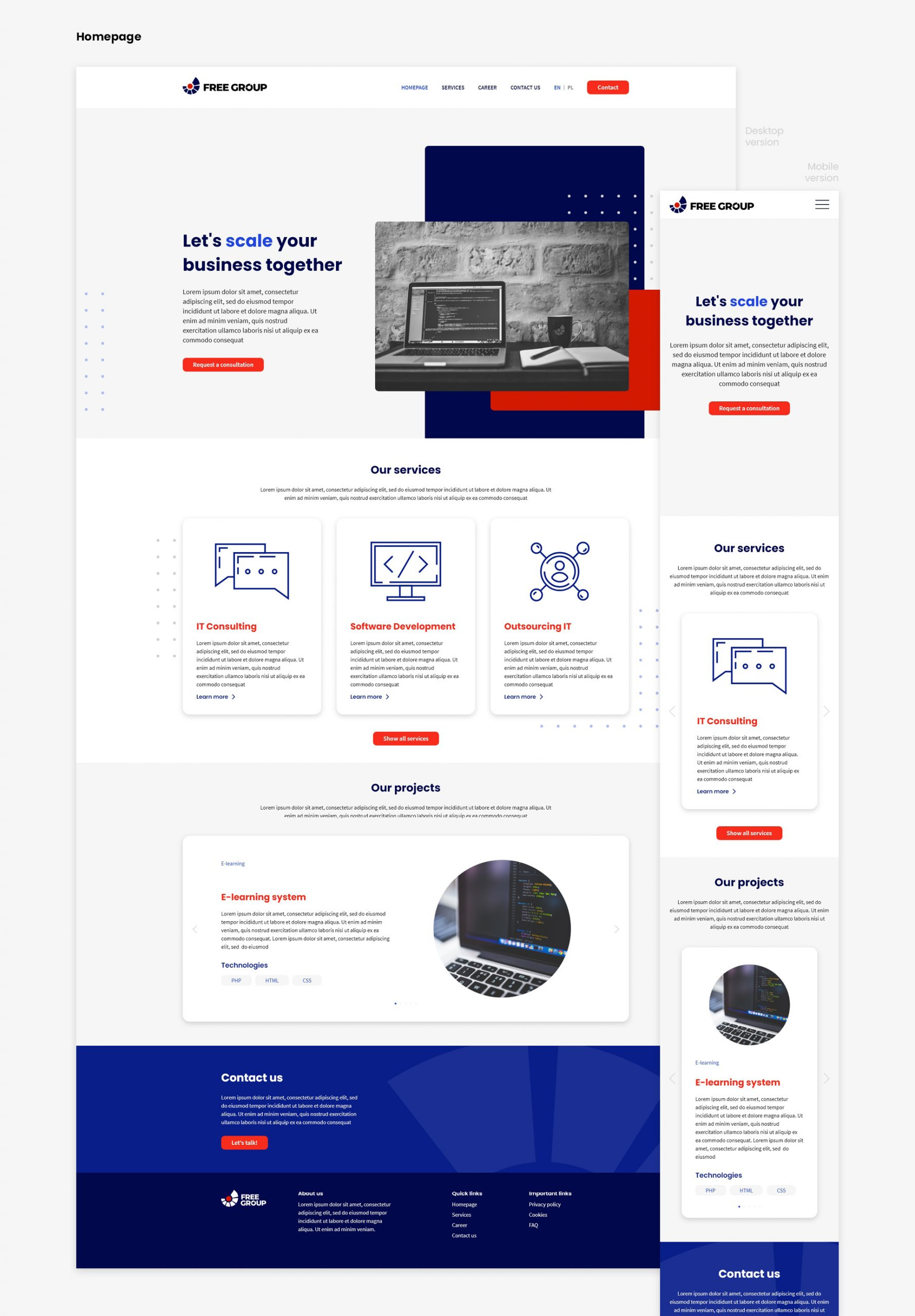 FreeGroup. Software house. Website project. Main page layout. Mobile version