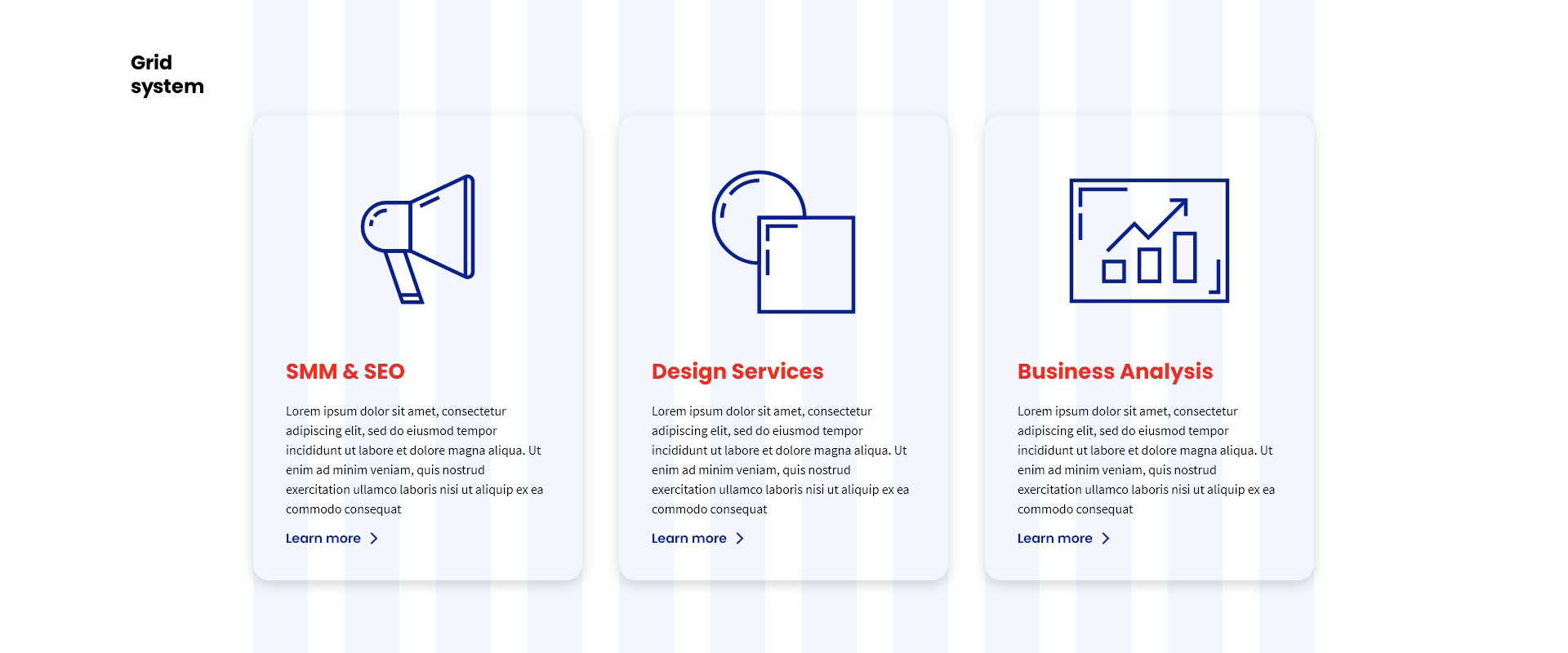 FreeGroup. Software house. Website project. Services page. Grid
